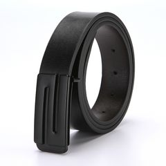 Men and women Fashion slide buckle Belt PU Leather Casual Leisure Belts black-N common