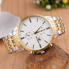 2020  Men's Watch  Business Wrist Watch Men Quartz Stainless Steel Wristwatches Gold Double Calendar white common