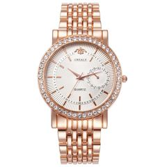 Women Fashion Watch Brand Rhinestone Wristwatches Ladies Classic Luxury Quartz Watch rose golden common