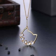 Hot Fashion jewelry  S925 Sterling Silver crystal Top quality necklace gold plating normal