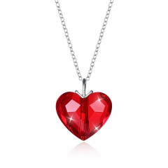 romantic Fashion jewelry  S925 Sterling women Silver crystal Top quality heart-shaped necklace red one size