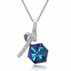romantic Fashion  Gift jewelry S925 Sterling women Silver crystal Top quality  necklace white one size