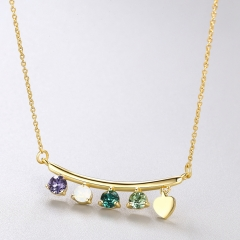 Fashion gift jewelry S925 Sterling women Silver crystal Top quality  necklace Gold-plated one size