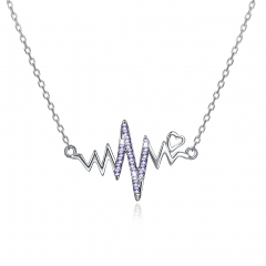 romantic Fashion jewelry S925 Sterling women Silver crystal Top quality wave necklace silvery one size