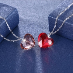 romantic Fashion jewelry S925 Sterling women Silver crystal Top quality heart-shaped necklace one red and one violet one size
