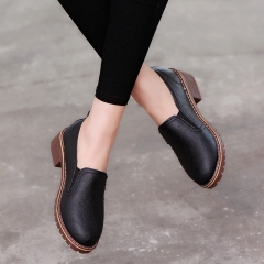 Women Fashion Slip on Dress Shoes Flat Oxford Shoes Woman Soft Leather Shoes Loafer Shoes black 35