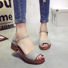 Summer Women Sandals Retro Pu Suede Sandal Low Square Heel Shoes Woman Buckle Shoe grey 39