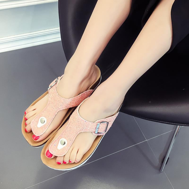 fc31e3994c6bf Summer Women Sandals Slippers Burken Lady Cork Sequin Beach Flip Flops pink  35  Product No  3201353. Item specifics  Brand