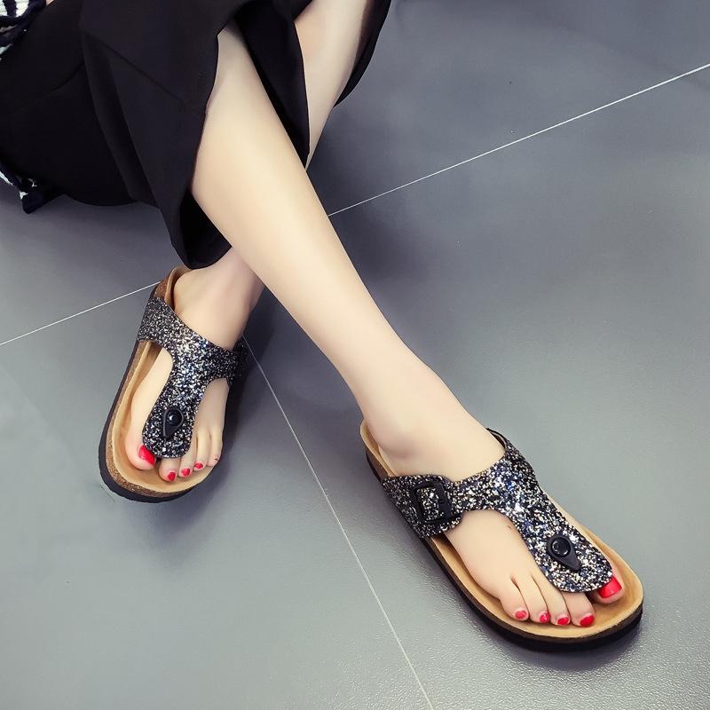 eb1dcd31a Summer Women Sandals Slippers Burken Lady Cork Sequin Beach Flip ...