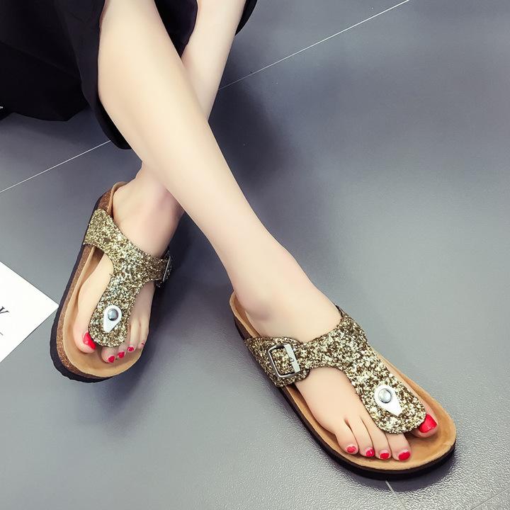 eb03109212a Summer Women Sandals Slippers Burken Lady Cork Sequin Beach Flip Flops gold  37