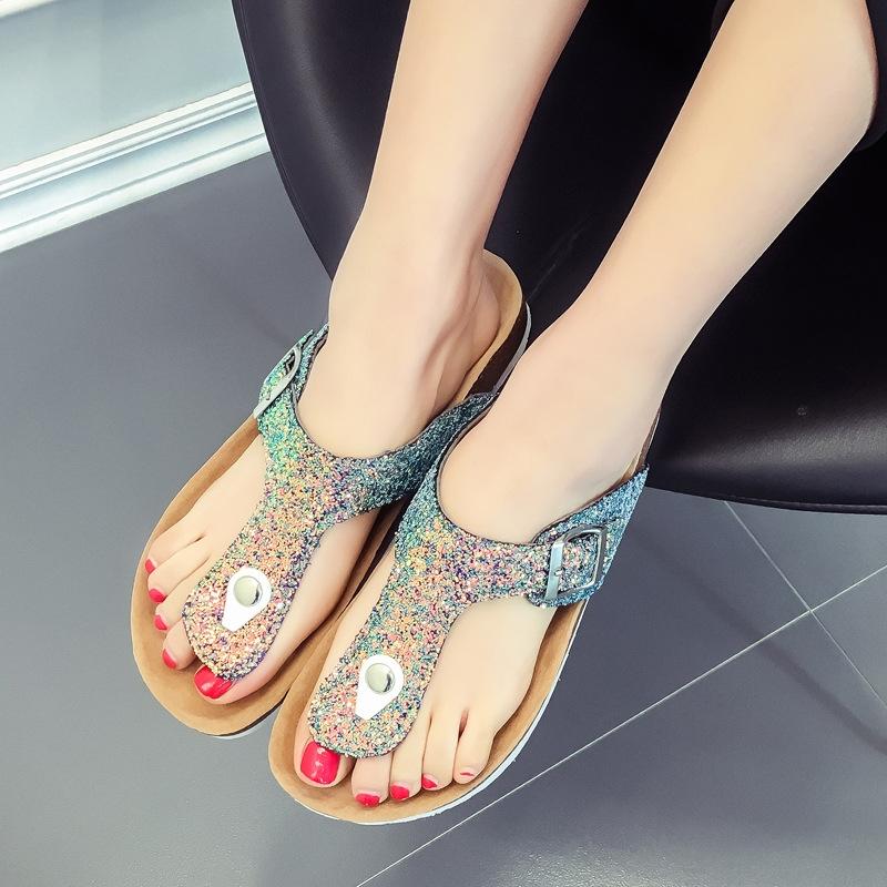 2a68f6806a0 Summer Women Sandals Slippers Burken Lady Cork Sequin Beach Flip Flops  green and purple 36  Product No  3201391. Item specifics  Brand