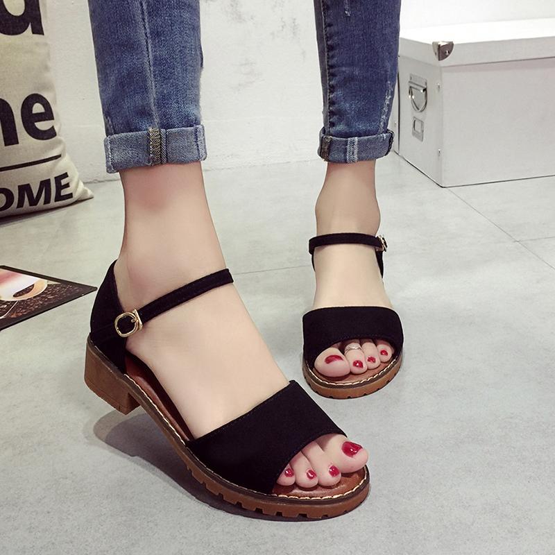 dff64ad31b0 Summer Women Sandals Retro Pu Suede Sandal High Heels Square Heel ...