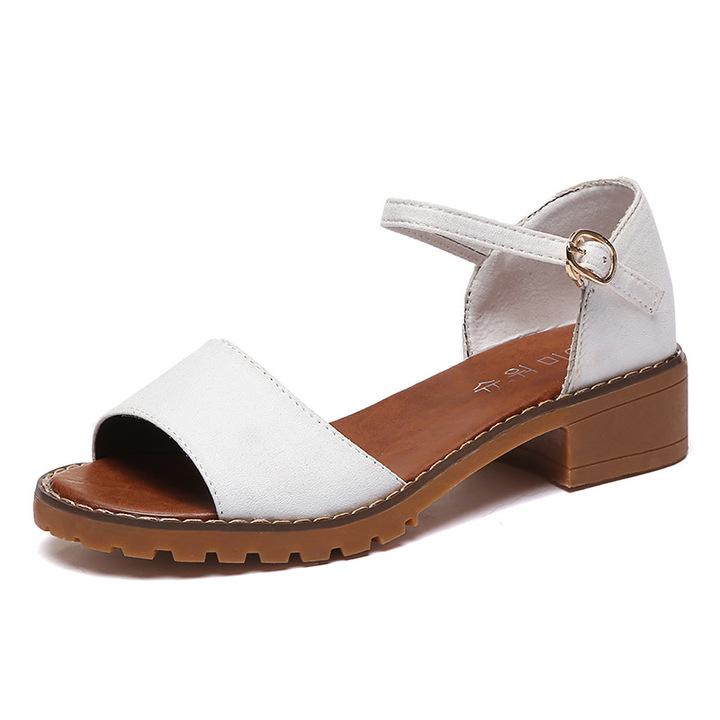 4c78c6ddf3c Summer Women Sandals Retro Pu Suede Sandal High Heels Square Heel Shoes  Woman Buckle Shoe white