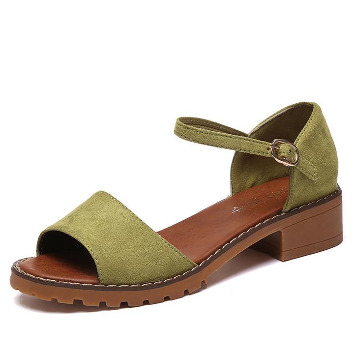 351f00e65ad Summer Women Sandals Retro Pu Suede Sandal High Heels Square Heel Shoes  Woman Buckle Shoe green