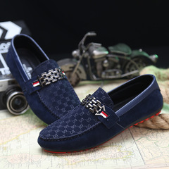 Men Loafer Shoes Trendy Leather Slip-on Loafers Vintage Men Driving Bussiness Casual Flat Shoes blue 39
