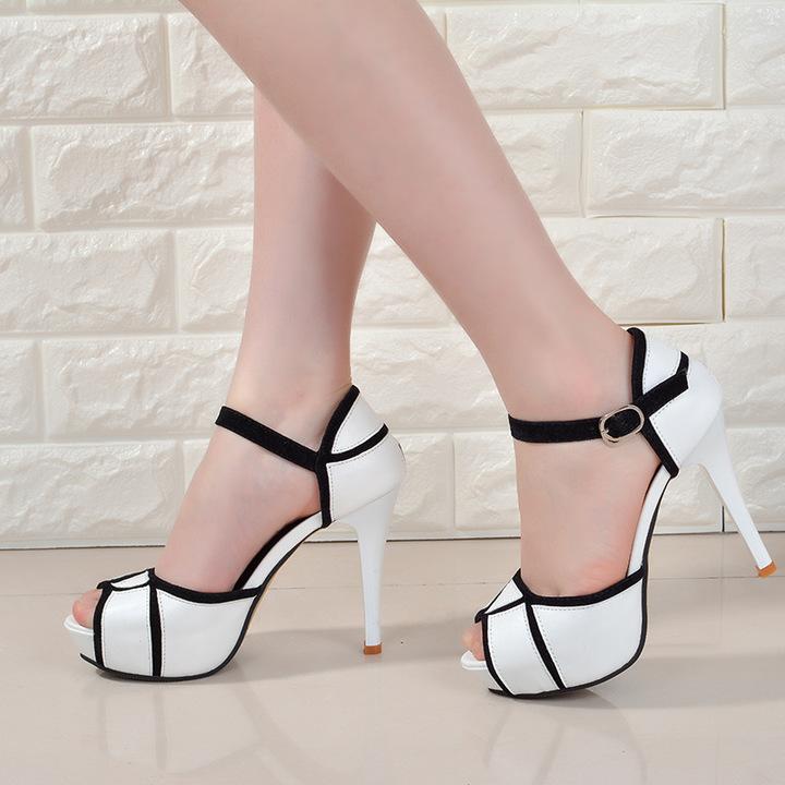 3c8c025a603e Women Sandals High Heel Platform Shoes Women Peep Toe PU Leather Shoes  Ladies Pumps white 34