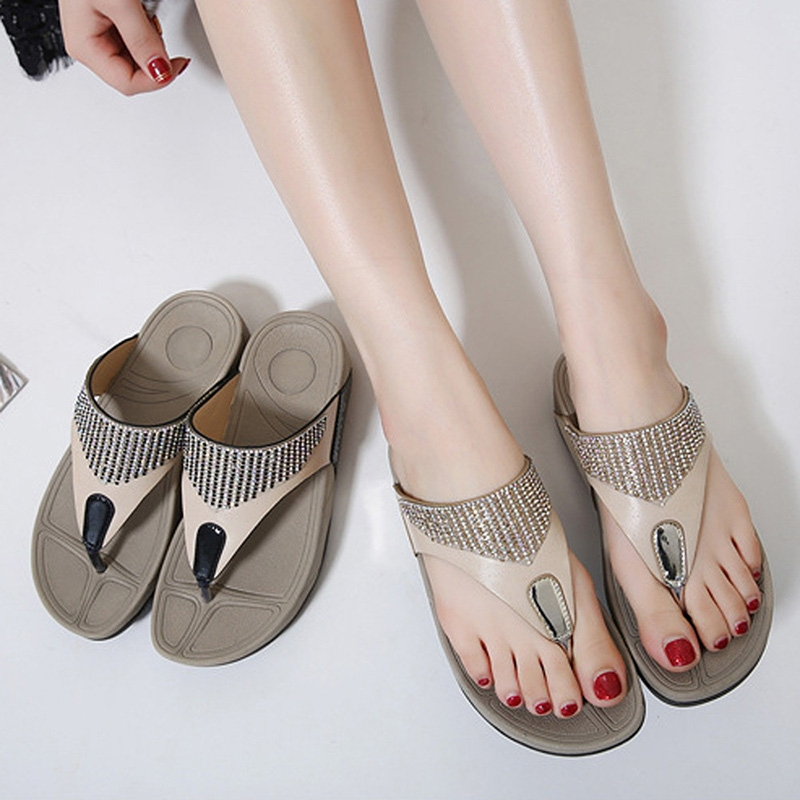 0fd76ac22305 ... Rhinestone Sandals Women Bohemian Wedge Flip Flops Flat Sandals black  35  Product No  7188637. Item specifics  Brand