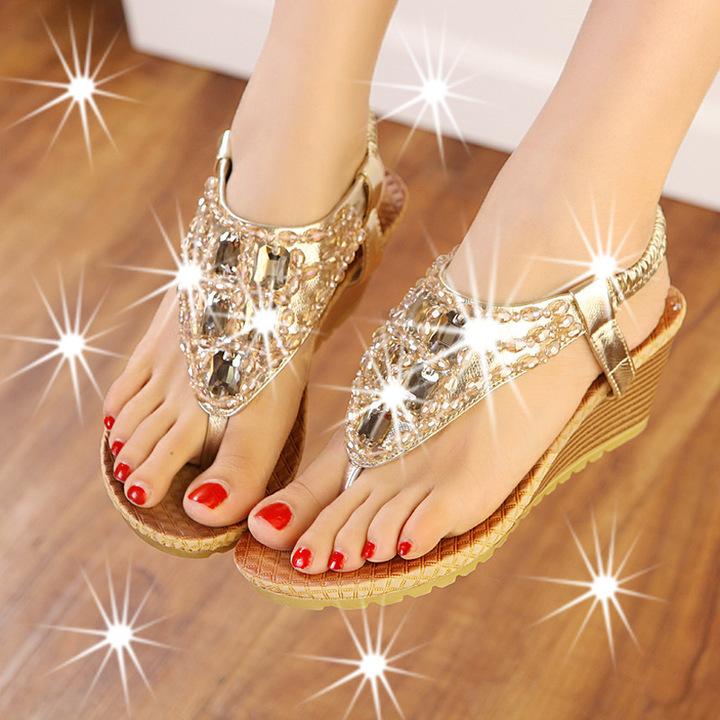 Women Bohemia Rhinestone Sandals Beach Shoes For Women Ladies Wedge Sandals gold 34