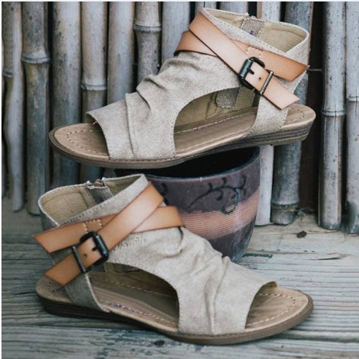 5035d68805d1b5 Women Gladiator Roman Buckle Flat Sandals Female Shoes Ankle Strap Flat  Heel Summer Sandals white 36