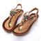 New Fashion Women Shoes Sandals Summer Flip Flops Bohemia Flat Sandals Female Beaded Shoes brown 40