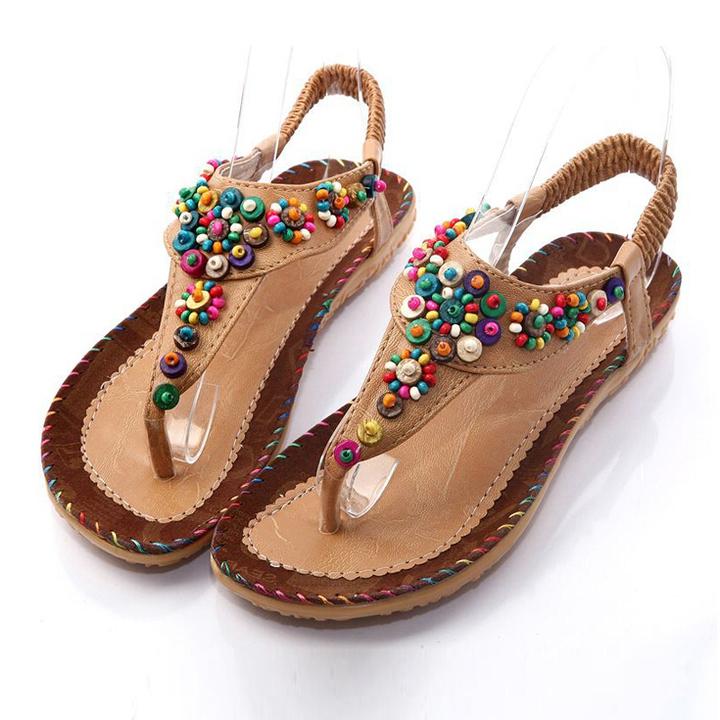 Women Shoes Sandals Summer Flip Flops Bohemia Flat Sandals Female Beaded Shoes brown 36