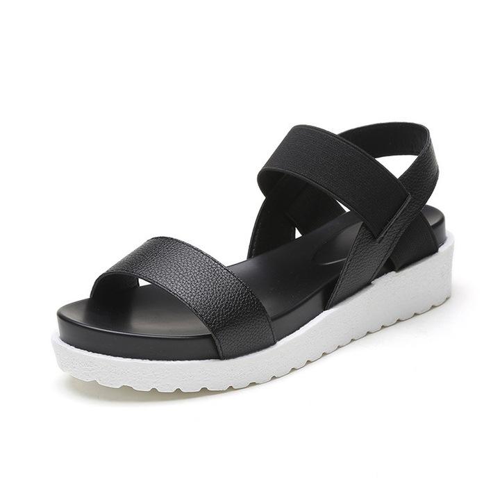 38f1d09b2ae2c Women Leather Sandals Slip On Shoes Peep-toe Flat Ladies Shoes Roman Sandals  Flip Flops