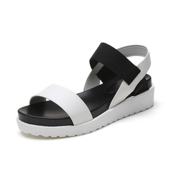 4cc1ab3993b7 Women Leather Sandals Slip On Shoes Peep-toe Flat Ladies Shoes Roman Sandals  Flip Flops