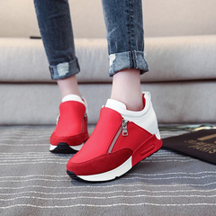 Women Sneakers Fashion Flat Platform Shoes Height Increasing Causal Shoes For Women Zippers Sneakers red 38