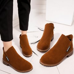 Women Fashion Slip On Martin Boots Platform Ankle Boots For Women Comfortable Low Heel Ladies Shoes brown 40
