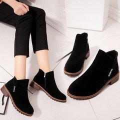 Women Fashion Slip On Martin Boots Platform Ankle Boots For Women Comfortable Low Heel Ladies Shoes black 38