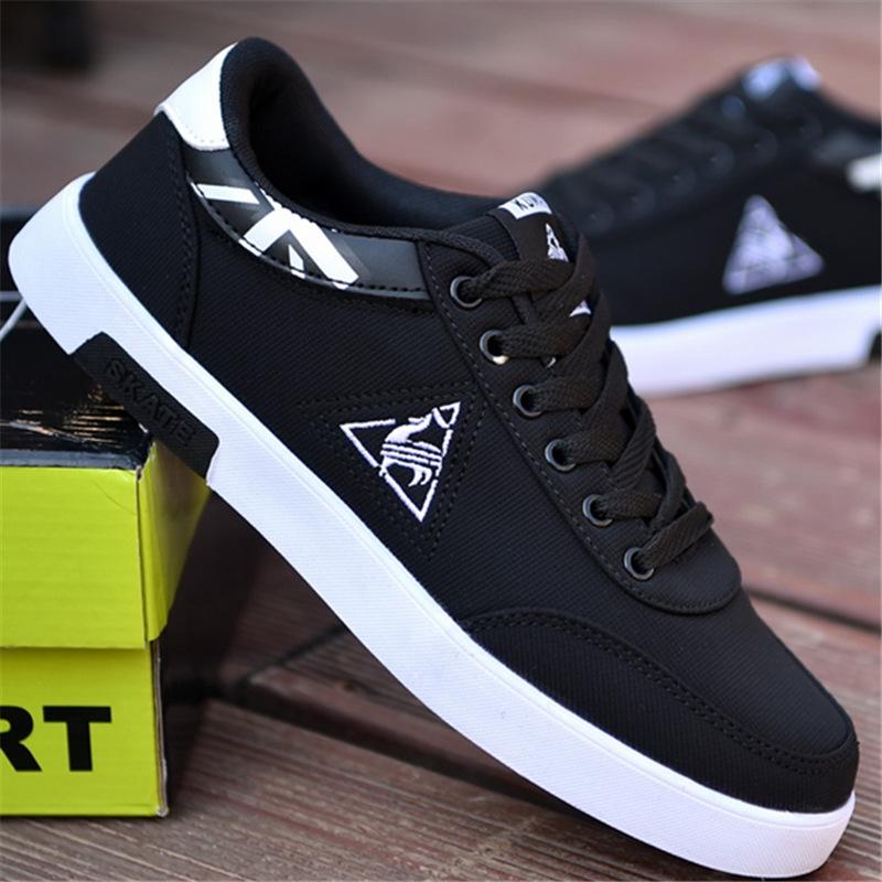 5d895864830 Summer Men Canvas Shoes Male Sneakers Low top Shoes Men's Casual Shoes  Brand Fashion Board Shoes black&white 39