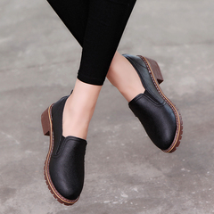 Women Shoes Slip-on Dress Shoes Flat Oxfords Soft Leather Shoes Loafer Business Casual Shoes black 35