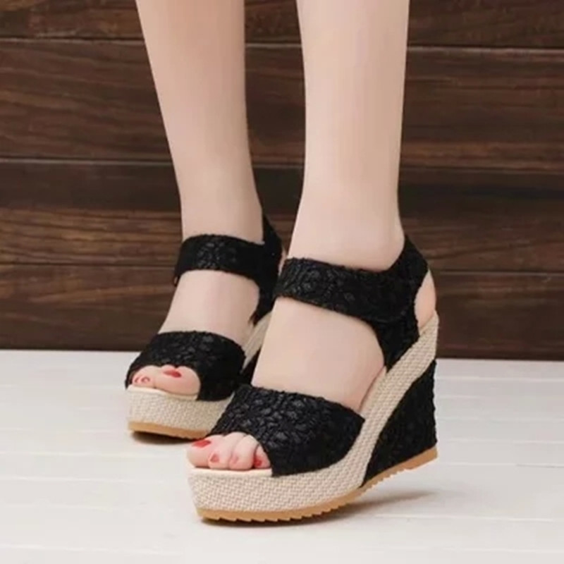 56ead7348555e Women Sandals Summer Wedges Sandals Platform Lace Belt Bow Flip Flops Open  toe High Heel Shoes black 35   Kilimall Kenya