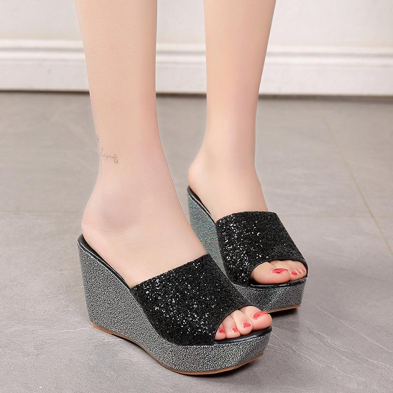 6d4b8f87478 Summer Women Casual High Heel Wedge Sandals Bling Flip Flops Shoes ...