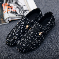 Men Casual Shoes Fashion Male Shoes Leather Men Loafers Leisure Moccasins Slip On Driving Shoes black 39