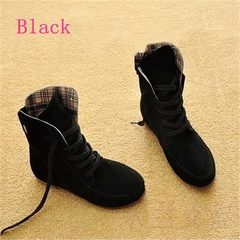 Plus Size Women Ankle Boots Matte Flock Martin Boots Ladies Low Heel Flat Shoes black 35