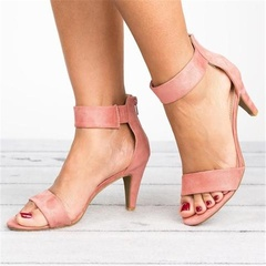 Women's Summer High Heel Sandals Open Toe Shoes Ankle Strap Stiletto Sandals pink 35
