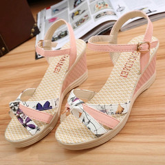 Women Summer Casual Flat Wedges Floral Sandals Sweet Platform Beach Female Shoes pink 35