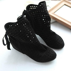 Women Summer Flat Boots Low Hidden Wedges Solid Cut-outs Ankle Boots black 35