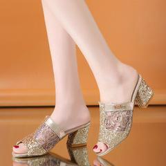Women Fashion Bling Glitter Slippers Summer Square Heel Pumps gold 35