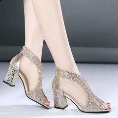 Women Ankle Strap Sandals High Heels Bling Dress Shoes gold 35