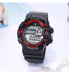 Outdoor multi-function luminous diving mountaineering student sports fashion watch red black as shown