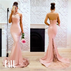 DALU Women Sexy Prom Gown Sleeveless Floor Length Wedding Dress Elegant Evening Party Gown Dress s normal