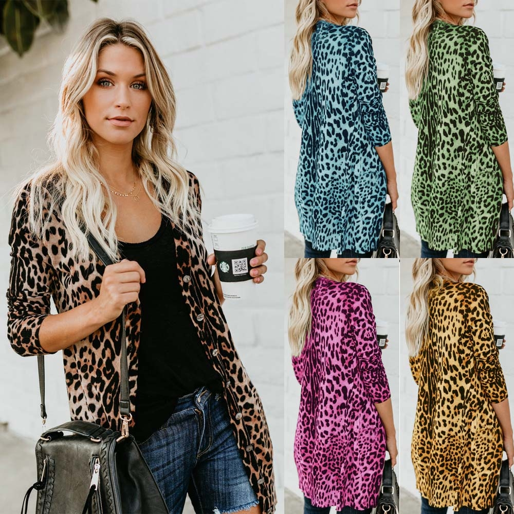 94ecf54048ea Sexy V collar long sleeved button leopard print jacket black S: Product No:  2686369. Item specifics: Brand: