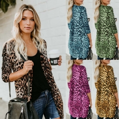 Sexy V collar long sleeved button leopard print jacket black S