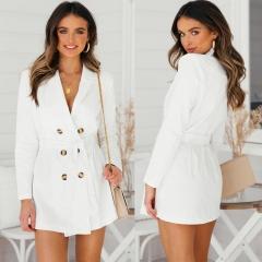 DALU Sex Coat Office Splicing Business Party Formal Plus Size Slim Casual Elegant Dress Tops Women white s