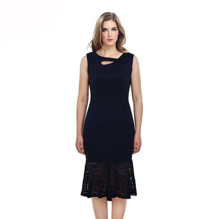 DALU Summer Print Lace Patchwork Elegant Business Formal Office Plus Size  Pencil Work Dress Women xl 686654918edc