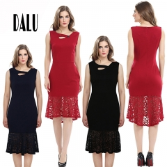 DALU Summer Print Lace Patchwork Elegant Business Formal Office Plus Size Pencil Work Dress Women l red