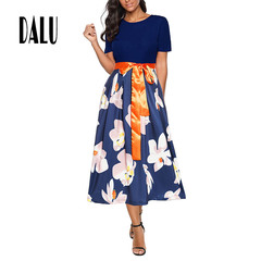 DALU Pure Color Patchwork Elegant Business Party Formal Office Plus Size Pencil Work Dress Women l 01