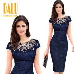 DALU Women Fashion Sleeveless High Waist Embroidery Lace Dress Lady Formal Bodycon Dress Skirt xl red